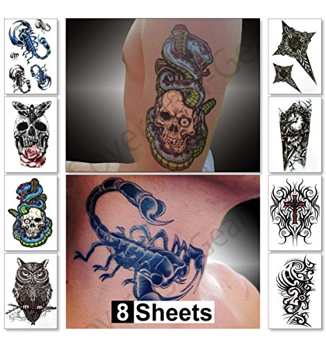 Temporary Tattoos for Guys for Men - Fake Tattoo, Biker Tattoos, Rocker Stickers for Arms Shoulders Chest & Back - Boys Tattoos Body Art Tattoo Sticker Waterproof Large Transfers 8 Sheets (Saturn) (Cyborg Tattoo)