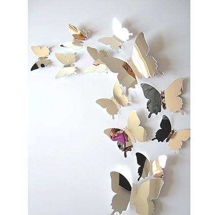 Amazon.com: Fullkang 12 pcs Decal Butterflies 3D Mirror Wall ...