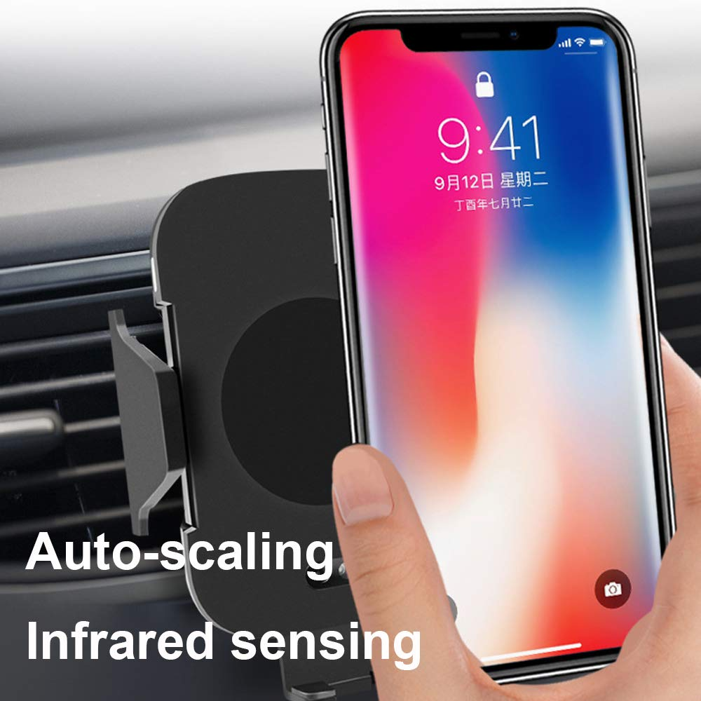 S8 S7 S7edge S6 All Qi Devices WABOLIN WABOING Wireless Car Charger Car Mount Wireless Charger Fast Infrared 10W Qi Wireless Charger Phone Holder Compatible for iPhone Xs//XR//X //8 Samsung Galaxy S9 S8