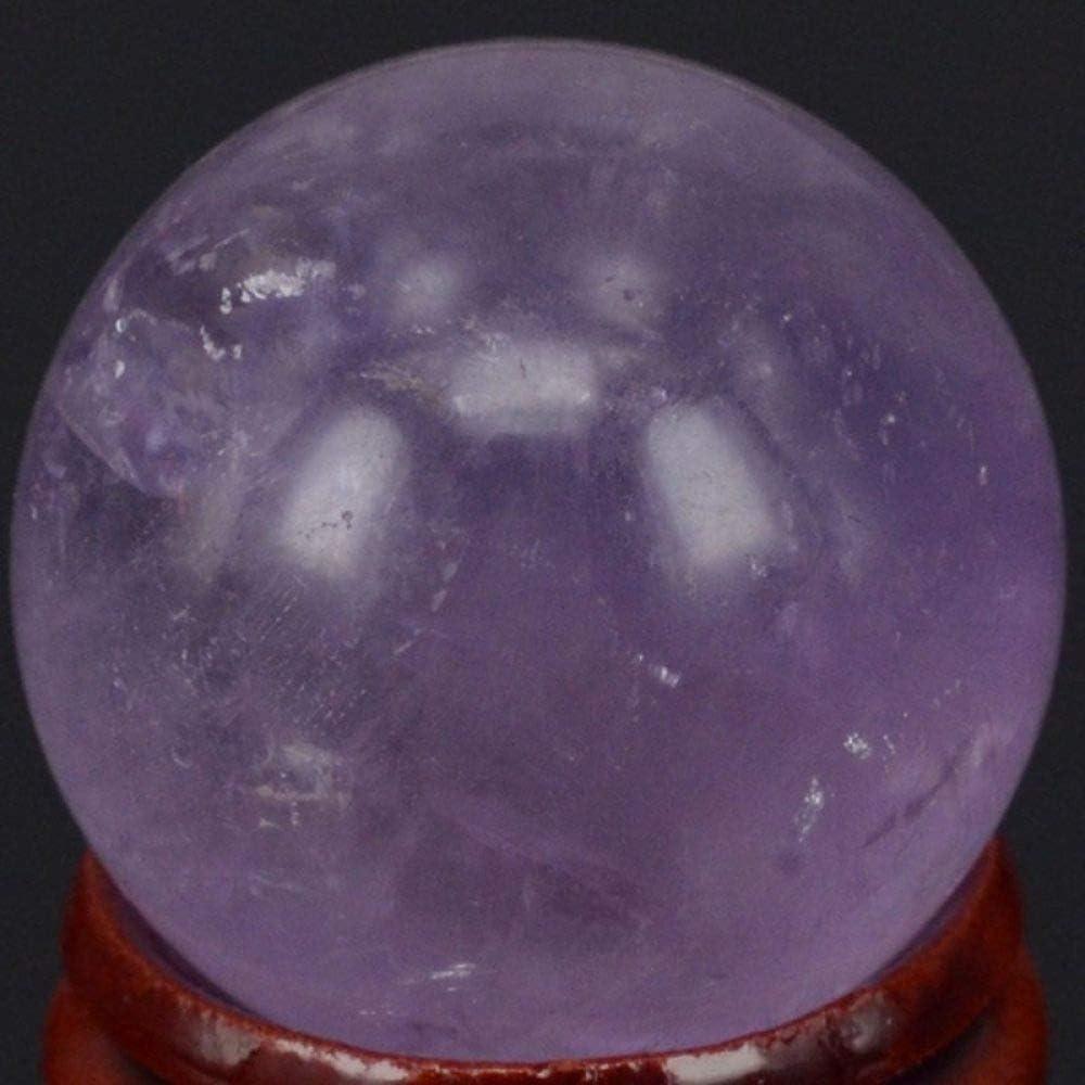 LQCN Piedras Preciosas Naturales 30MMEsfera deAmatistaBola de Cristal Chakra Curación Reiki Talla Artesaníascon Soporte, 1 Pieza