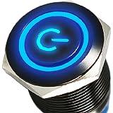 Mintice™ boîtier noir 16mm symbole de puissance bleu angle oeil LED 12V bouton poussoir voiture interrupteur à bascule en métal
