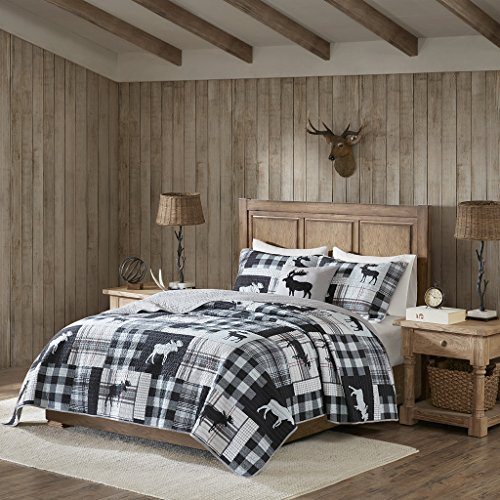 Sweetwater Oversized 4 Piece Quilt Set Black/Grey King/Cal King (Wash Sweetwater)