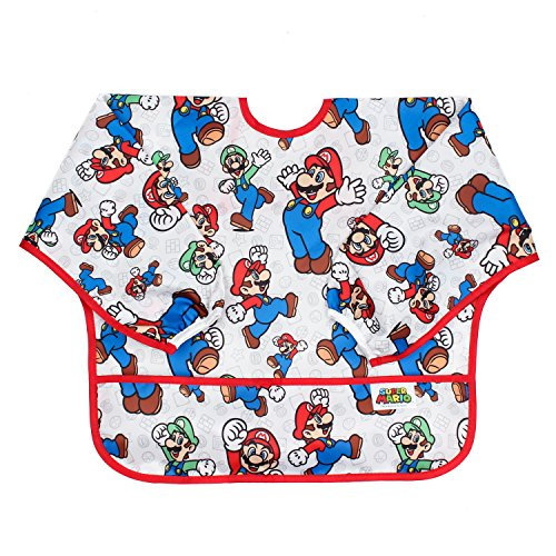 Bumkins Nintendo Sleeved Bib / Baby Bib / Toddler Bib / Smock, Waterproof, Washable, Stain and Odor Resistant, 6-24 Months  - Super Mario / Mario & Luigis ()