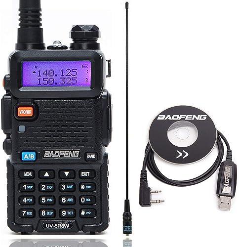 BaoFeng UV-5R 8W High Power 1800mAh Tri-Power 1W 4W 8W Portable 2M 70CM Dual Band UHF VHF Two-Way Radio with Programming Cable 771 Antenna