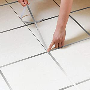 Eanpet 0.2 Inch x 166 Ft Tile Stickers Decorative Floor Wall Sticker Foil Line Peel and Stick Adhesive Waterproof Gap Cover for Kitchen Bathroom Living Room Bedroom (1pc Roll) Silver