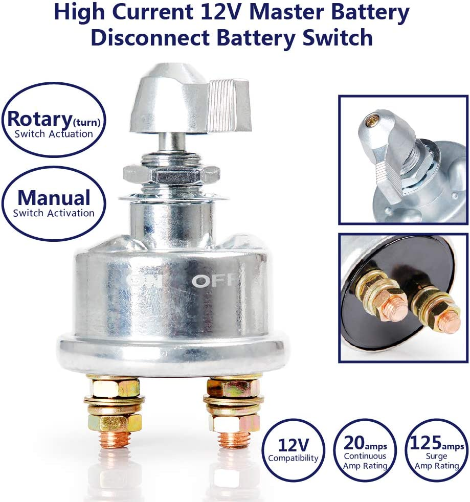 Master Battery Disconnect Switch kill cut Off 125 Am 12 Volt 6276  Manual  6276