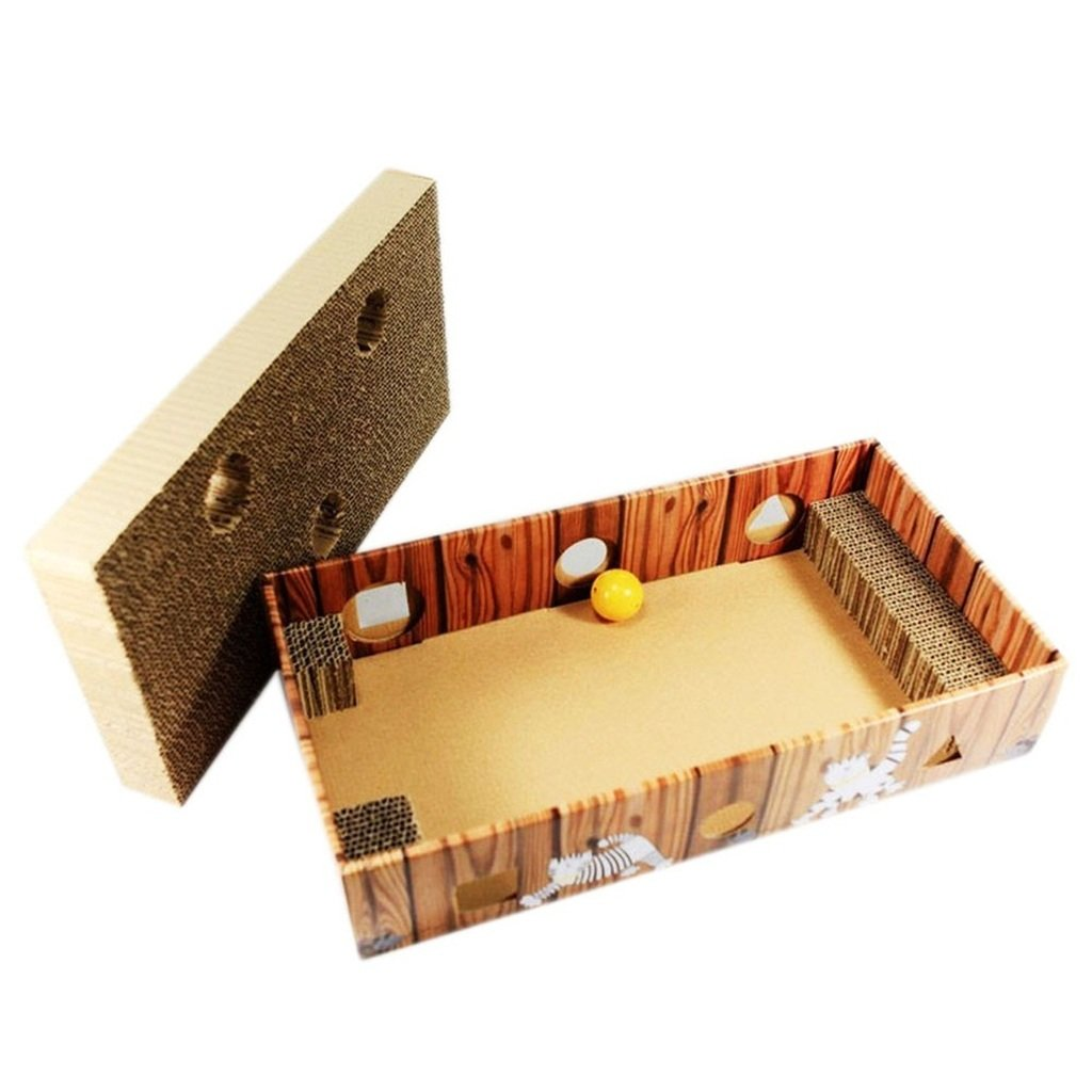 HuiSiFang® Cat Cardboard Toy Cat Scratching Box Corrugated Cat Scratcher with Holes and Ball Claw Toy for Cat