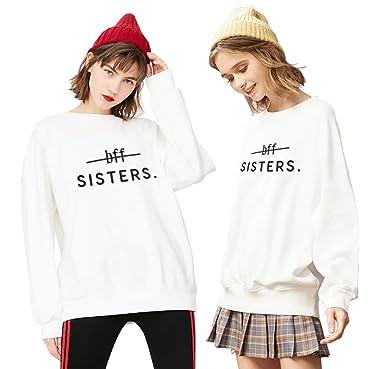 Best Friend Sudadera Impresión 2 Piezas Mejor Amiga Suéter Sisters BFF Manga Larga Sweatshirt Cuello Redondo sin Capucha Otoño Casual para Mujer: Amazon.es: ...