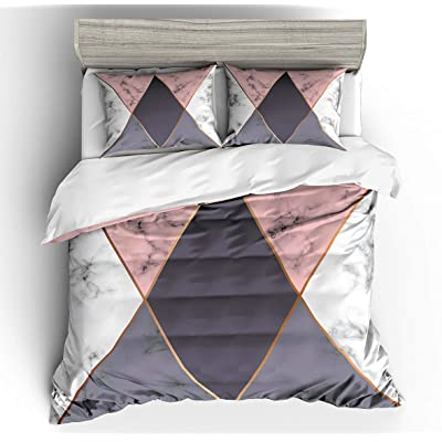 Koongso Gray Marble with Golden Geometric Lines Duvet Cover Sets - Color Block Marble with Geometric Painting Bedding Set for Kids and Adults (No Comforter): Home & Kitchen