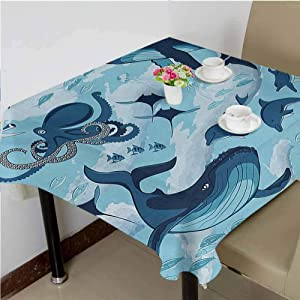 dsdsgog Picnic Cloth Inhabitants of Ocean Sharks Whales Dolphins Octopus Jellyfish Starfish with Waves Image,65x65 inch Microfiber Square Tablecloth
