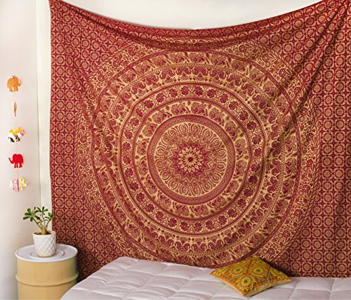 Popular Handicrafts Elephant Tapestry Wall Hanging Hippie Bohemian Mandala Wall Art with Metallic Shine Tapestries (215x230cms) Maroon and Gold