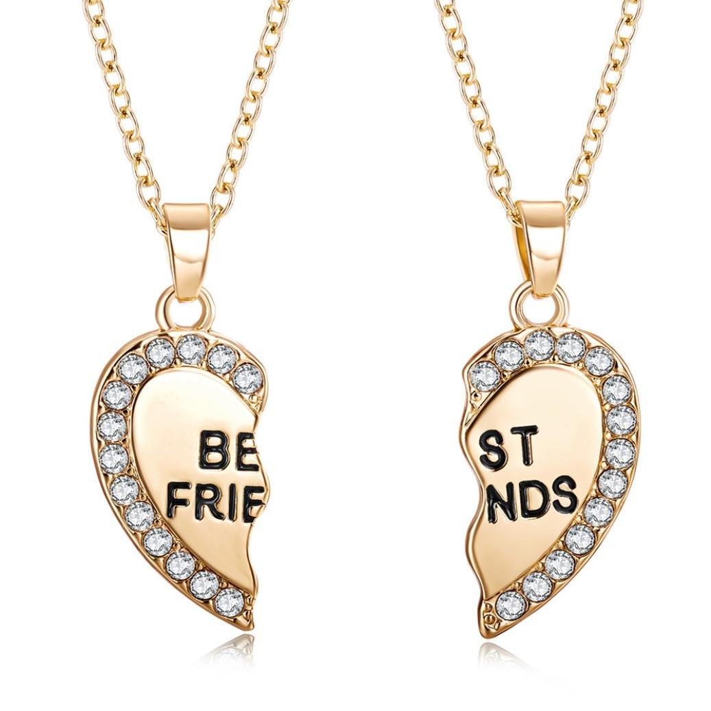 sameno 2018 Fashion Girl Women Best Friend Unisex Mens Womens Heart Pendant Necklace Jewelry Chain New (Gold)