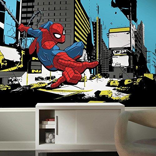 Chair Rail Mural - RoomMates JL1432M Spider-Man Classic XL Chair Rail Prepasted Mural 6' x 10.5' -Ultra-Strippable