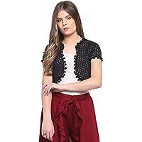 RIVI Designer White Cotton Half-Sleeves Women's Shrug Top (RV043)