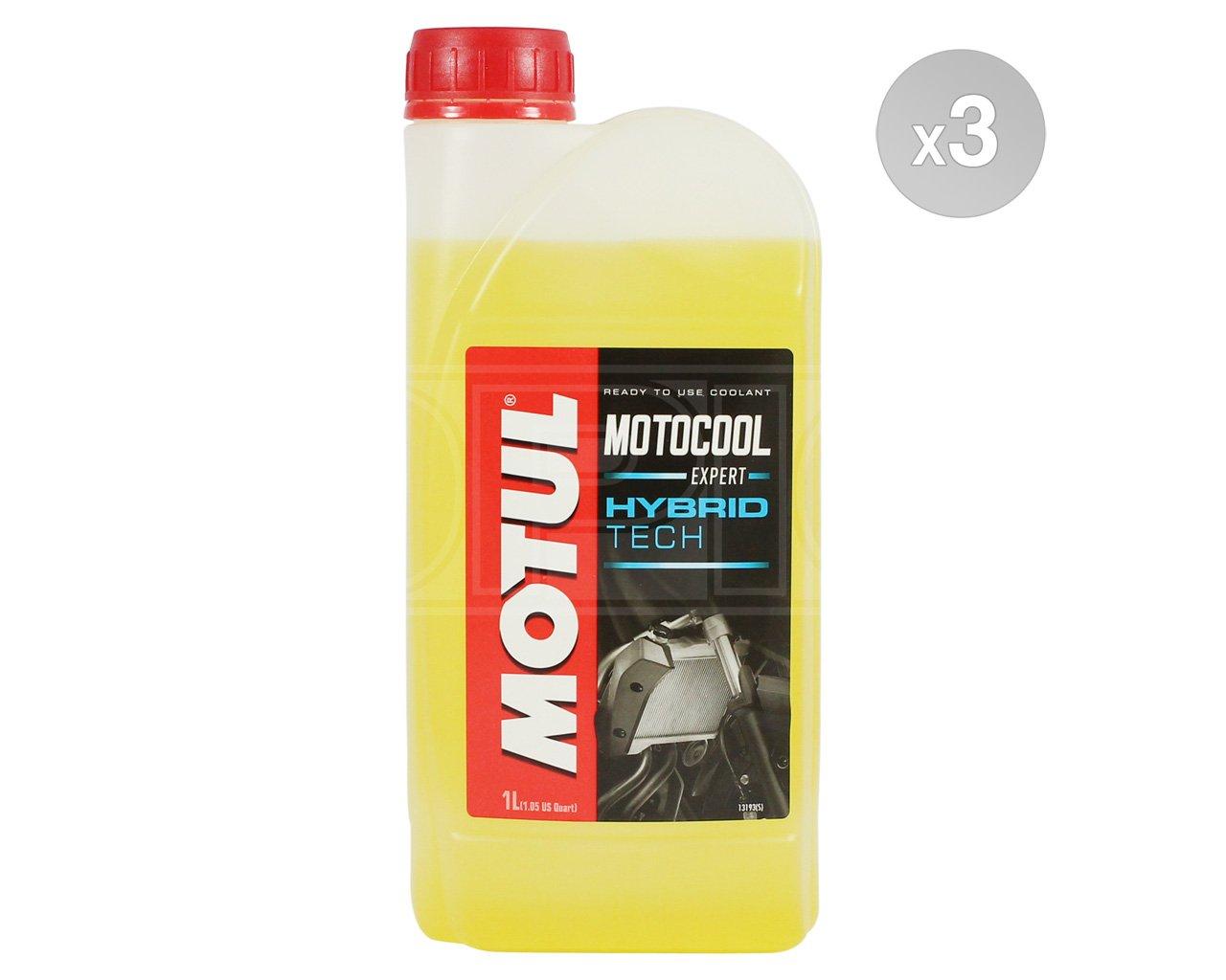 Motul MOTOCOOL EXPERT Hybrid Tech Motorcycle Coolant / Anitfreeze - Ready To Use - 3 x 1 Litres Motul Bundle