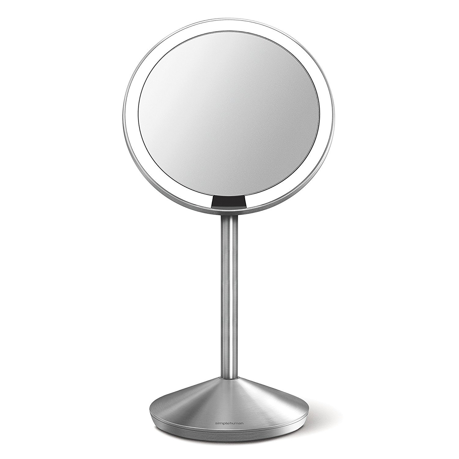 "simplehuman Mini Sensor Lighted Makeup Travel Mirror 5"" Round, 10x Magnification, Stainless Steel, Rechargeable"