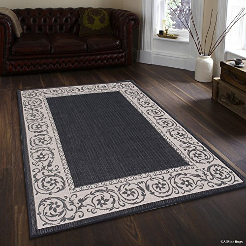 Allstar 8 X 10 Black with Ivory Indoor Outdoor Paisley Floral Area Rug (7' 10