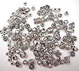 ALL in ONE 60 Gram/130pcs Mixed Antique Silver Tibetan Style Beads Charms Jewelry Findings (Beads 130pcs)
