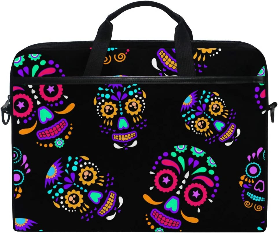 MRMIAN Day of The Dead Colorful Sugar Skull Floral Laptop Case Bag Sleeve Portable/Crossbody Messenger Briefcase Convertible w/Strap Pocket for MacBook Air/Pro Surface Dell ASUS hp Lenovo 15-15.4 inc