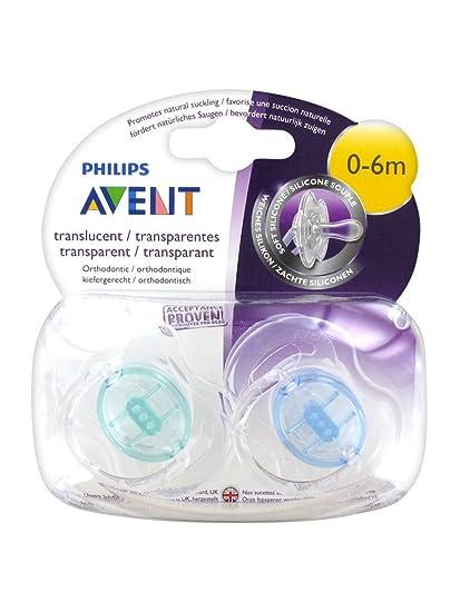 2 chupetes ortodónticos de silicona transparente para bebés de 0 – 6 meses, de la marca Avent Blue + Green