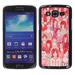 FECELL CITY // Duro Aluminio Pegatina PC Caso decorativo Funda Carcasa de Protección para Samsung Galaxy Grand 2 SM-G7102 SM-G7105 // Croud Hipster Deep Meaning Red Art