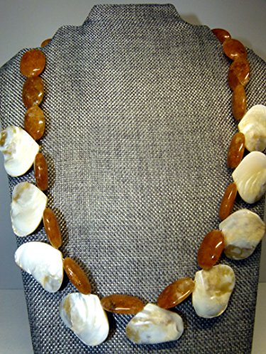 Huge Mother Of Pearl - Beautiful honey quartz and mother of pearl drop necklace , handcrafted
