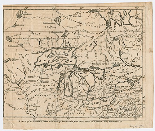 Historic Map | 1755 A Map of the five Great Lakes with part of Pensilvania, New York, Canada, and Hudsons Bay Territories et cetera | Antique Vintage Reproduction