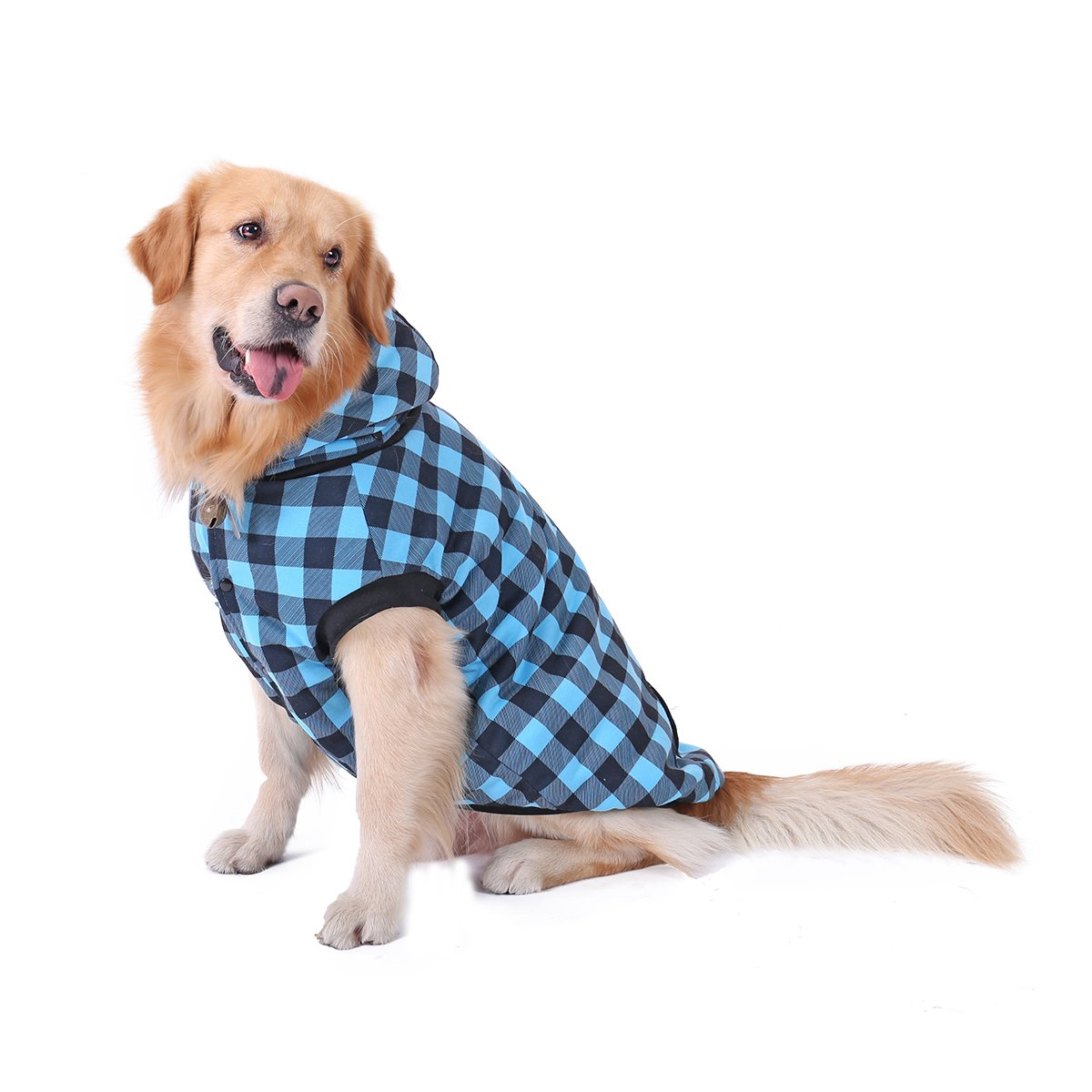 PAWZ Road Dog Plaid Shirt Coat Hoodie Pet Winter Clothes Warm and Soft for Medium and Large Dogs,Upgrade Version Blue 4XL