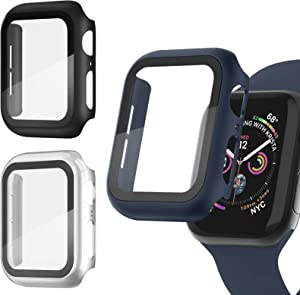 Recoppa [3 Pack] Apple Watch case with Screen Protector for Apple Watch 38mm Series 3/2/1, Full Hard Cover Ultra-Thin Bumper HD Clear Protective Film Scratch Resistant for Women Men iWatch