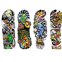 SIO 4pcs Removable Waterproof Temporary Tattoo Body Arm Leg Art Stickers
