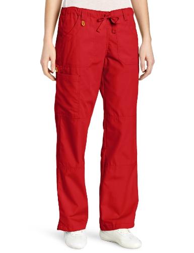 (WonderWink Women's Scrubs  Cargo Pant, Red, Medium/Petite)