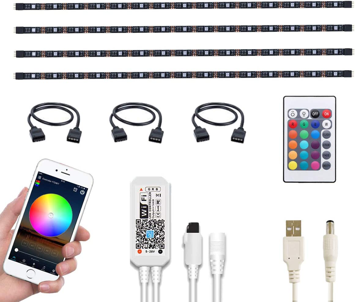 WOTECH Wifi Smart TV LED Backlight Compatible With Alexa and Google Home, 6.6ft USB RGB Waterproof LED Strip Lights Kit 4 Pcs Flexible SMD5050 Tape Light Bias Lighting for Kitchen, Bedroom DC 5V