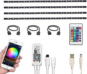 WOTECH Wifi Smart TV LED Backlight Compatible With Alexa and Google Home, 6.6ft USB RGB Waterproof LED Strip Lights Kit 4 Pcs Flexible SMD5050 Tape Light Bias Lighting for Kitchen, Bedroom DC 5V