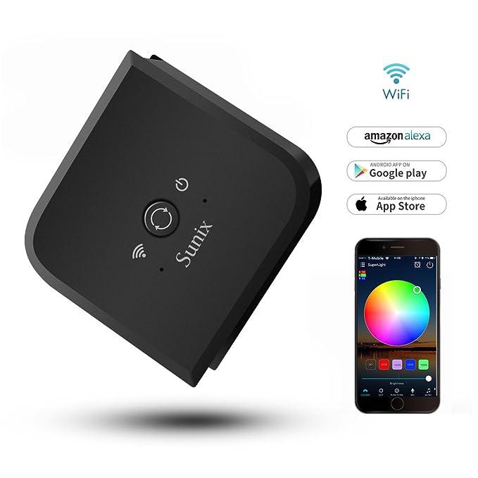 Regulador de tira de luz LED RGB Sunix 12V flexible, control inteligente de 5 canales WiFi (RGB + blanco cálido + blanco frío) DC 12-24V - Control de ...