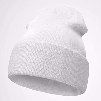 53fc6b2a59e1c6 Image Unavailable. Image not available for. Color: Beanie Plain Knit Hat  Winter Warm Cuff Cap Slouchy Skull Ski Warm Men Woman- White