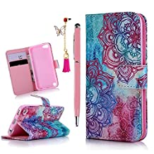 iPod Case iPod Touch 5 Case- MOLLYCOOCLE Stand Wallet Purse Credit Card ID Holders Magnetic Color Totem Flower Design PU Leather Ultra Slim Fit Flip Folio Cover for iPod Touch 5 5th Generation