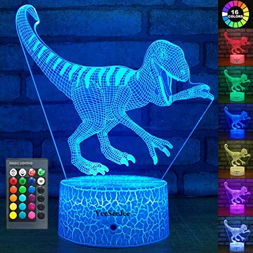YeeSeeJee Dinosaur Toys Night Lights for Kids with 16 Colors Adjustable Remote & 7 Colors Dimmable Touch Velociraptor Dinosaur Gifts for Boys Age 2 3 4 5 6 7 8 Year Old Boy Gifts (Velociraptor 16CW)
