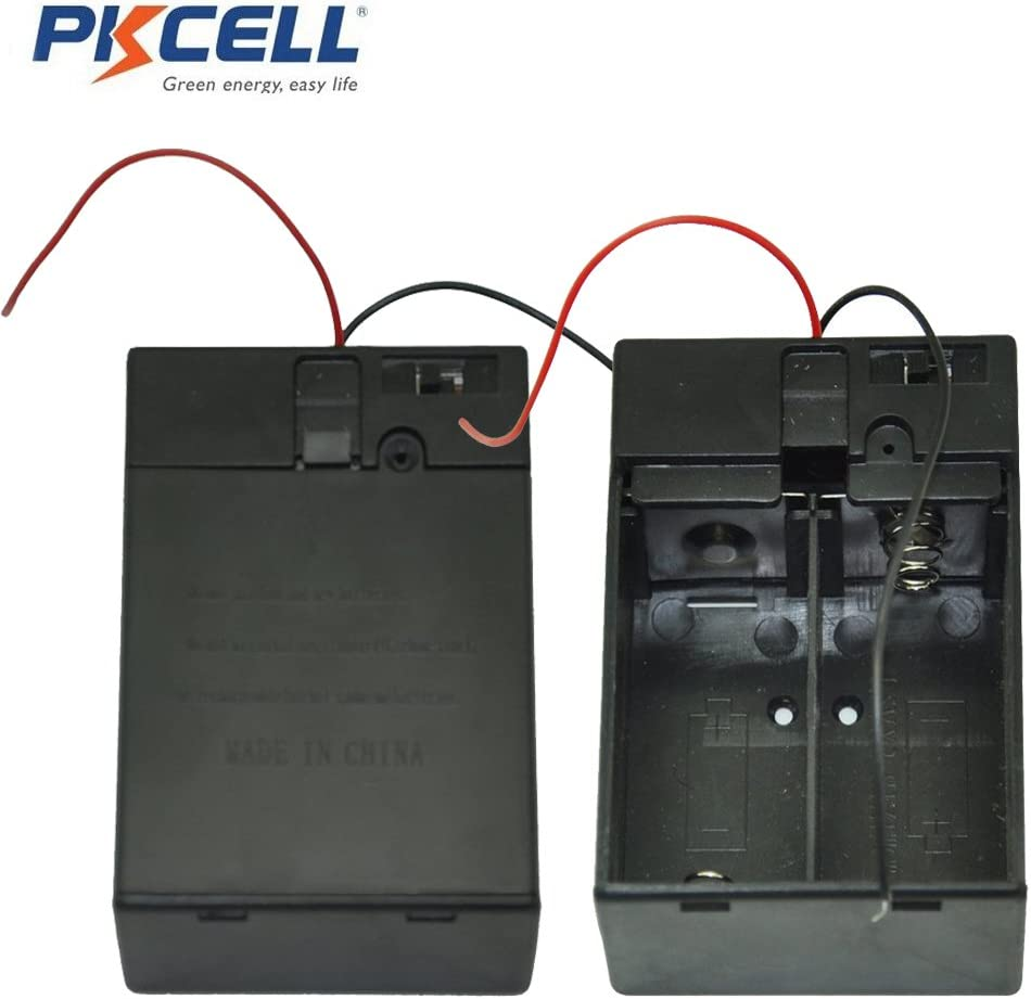"""10x Battery Holder 2-AA Cells Case Box With 6/"""" Cable Leads /& Cover /& Switch"""