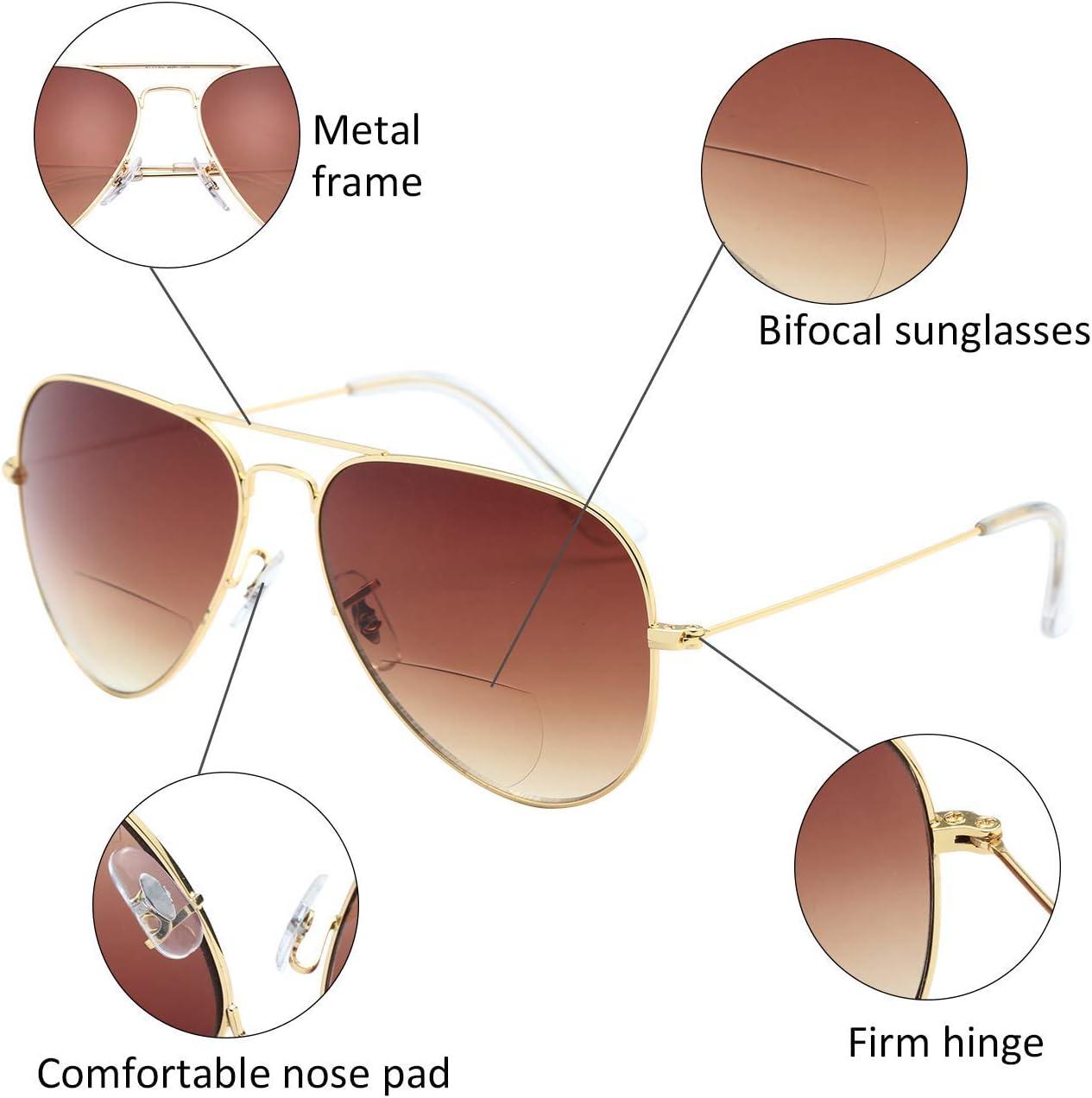 80er Jahre Retro Designer und Aviator Style Sonnenbrille Shades UV400 Objektiv L8022 Grau, 100Dioptre LianSan Bifocal Sunreaders f/ür Herren Damen 70er
