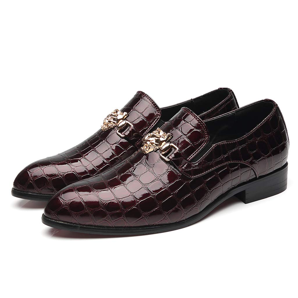 Herren-Mode-Business-Schuhe, schwarz-rot-rotes Leder formell mit Krokodil-Tattoo lässige lässige lässige Schuhe,rot,45  0abd31