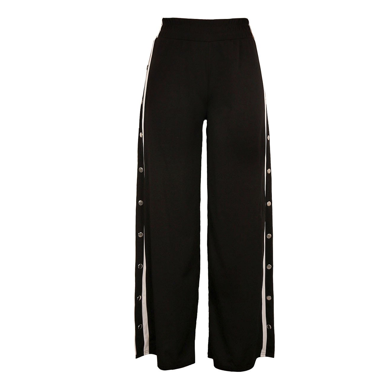 73affcb4 Women Shirring Waist Side Split Buttoned Track Pants at Amazon Women's  Clothing store:
