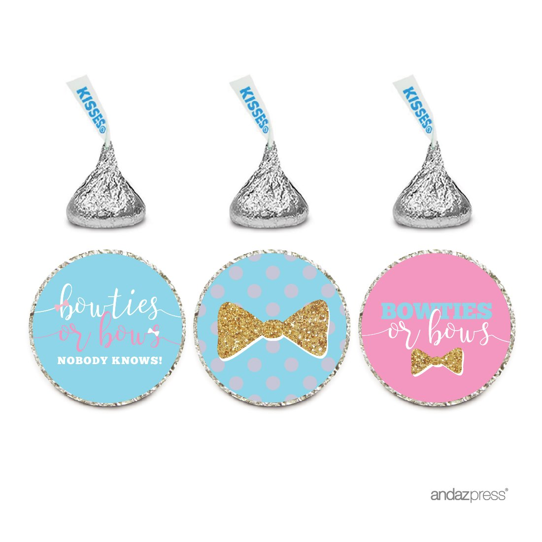 108 GENDER REVEAL BABY SHOWER HERSHEY KISS CANDY STICKERS Bow or Bowtie