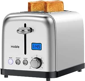 Holife Toaster 2 rebanadas, tostadora de bagel de acero inoxidable con pantalla digital, 6 ajustes de sombra, función bagel/descongelación/cancelación/recalentamiento, ranura extra ancha de 1.5 pulgadas, 900 W