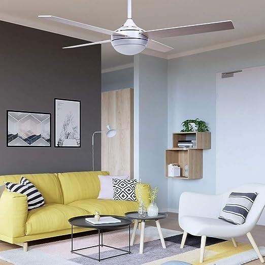 Gototo - Ventilador de techo con mando a distancia y luz para iluminación interior, salón, cocina, 52 pulgadas, 3 velocidades: Amazon.es: Hogar
