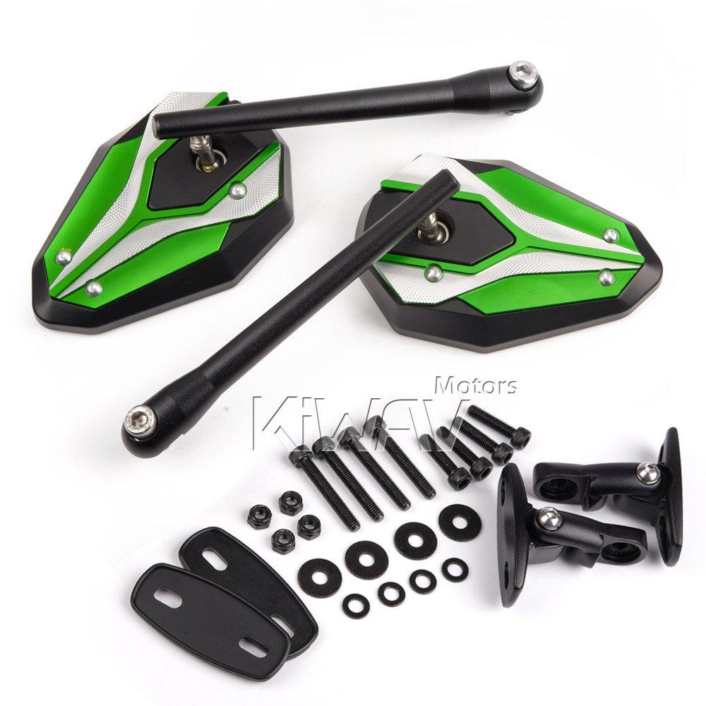 KiWAV Magazi Viper II motorcycle mirrors green fairing mount w/ matte black adapter for sports bike adjustable e by KiWAV (Image #8)