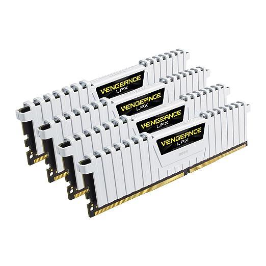 599 opinioni per Corsair CMK32GX4M4B3200C16W Vengeance LPX Kit di Memoria RAM da 32 GB, 4x8 GB,