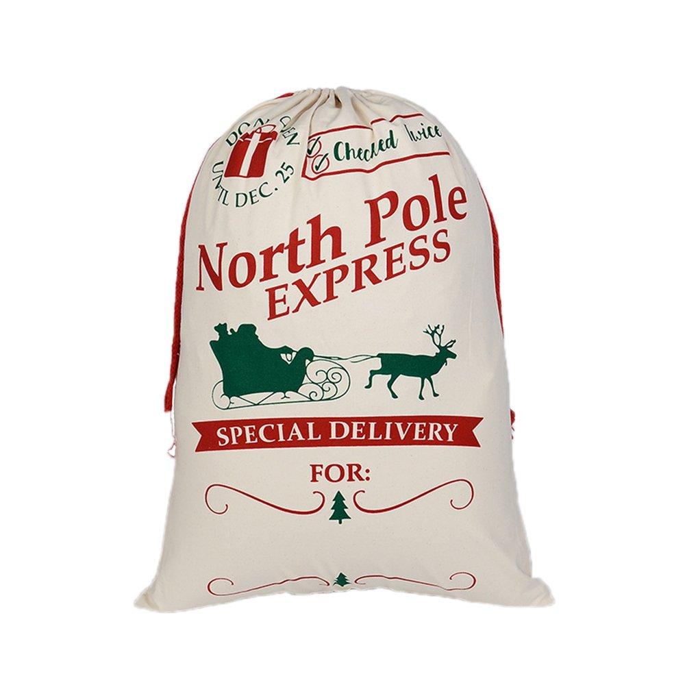 Aspire卸売業クリスマスジャイアントキャンバス巾着袋再利用可能な食料品の買い物袋ギフトストレージ - Express - 60 PCS B072LNXJM2