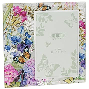 Botanical Sweet Pea Colourful Butterfly Glass Photo Frame New Boxed ...