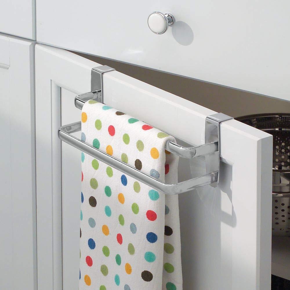 mDesign Toallero sin taladro con dos barras - Ideal para paños de cocina o toallas – Percha para puerta fácil de montar en armarios de cocina y baño – ...