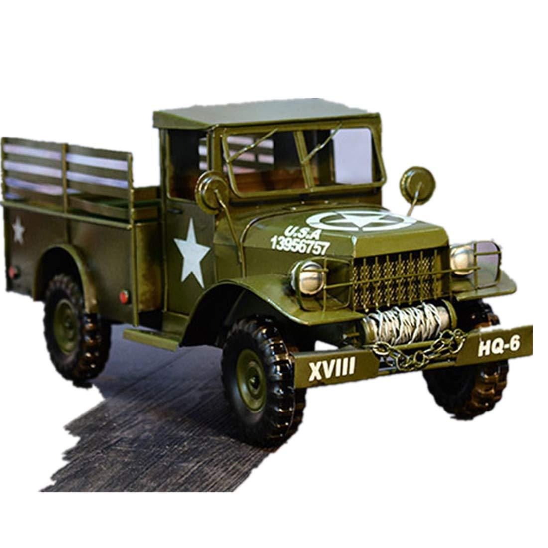 VJUKUB Retro Modelo De Camión Militar De Hierro Arte Hogar Decoración del Coche Arreglo Decoración Accesorios De Fotografía 45  18  20 CM